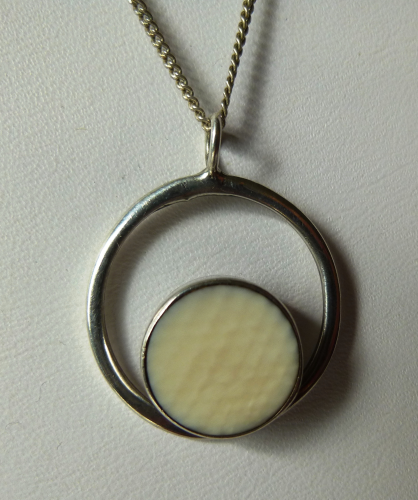 Sterling faux ivory pendant & chain