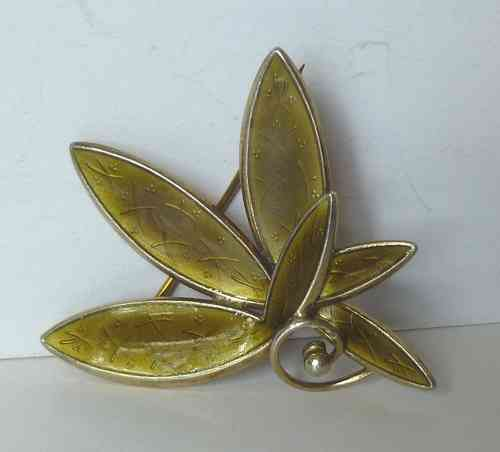Scharning Sterling vermeil green enamel brooch
