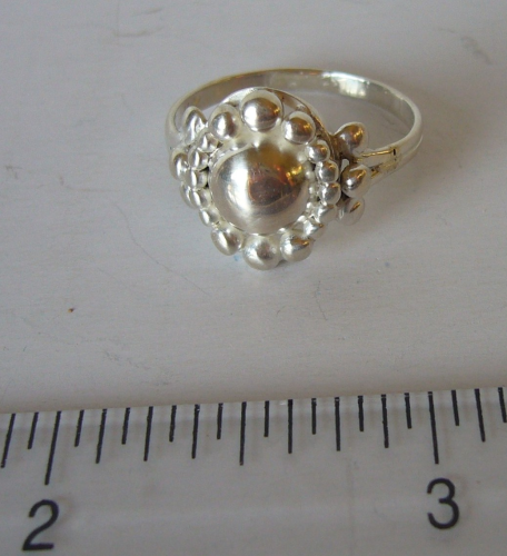 VP silver ball ring, Size Q+