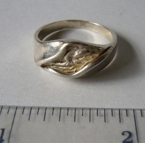 PJ Sterling crumple cast ring, Size T