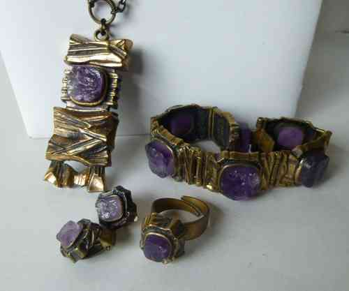 Sarpaneva bronze amethyst necklace, bracelet, ring & earclips