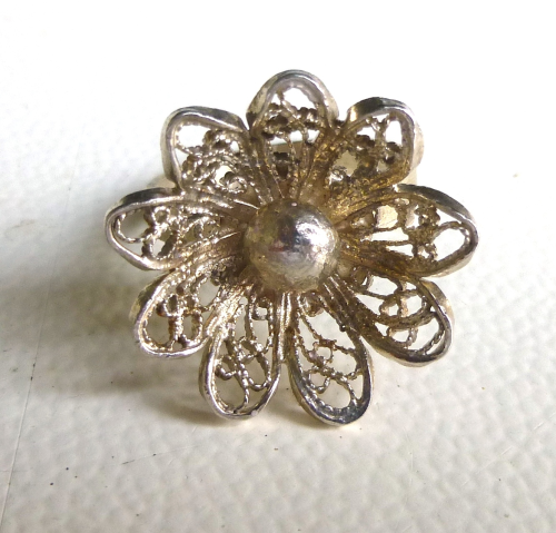 Sterling filigree flower ring, size L