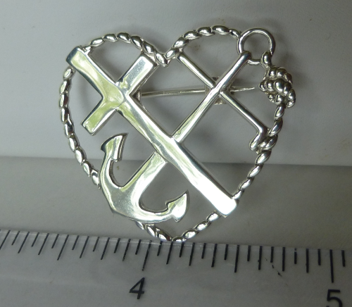 Faith, Hope & Charity silver  brooch