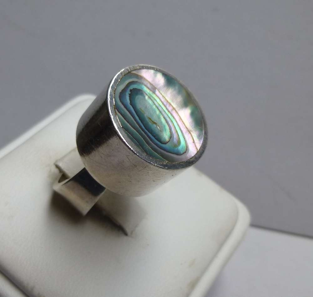 aj johansen rings ring arne scandinavian ml l sterling abalone silver