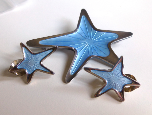 Meka Sterling enamel star brooch and clips