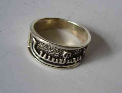 Bronze age boat motif ring, size O