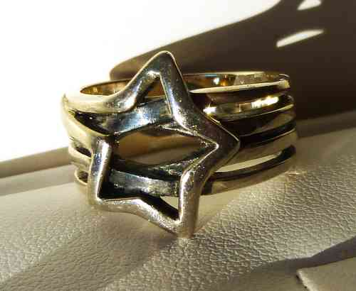 Aagaard modernist Sterling silver star ring, size P
