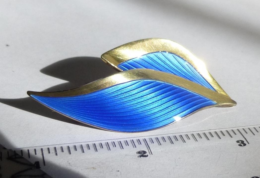 Scharning Norway Blue Enamel Brooch Scandinavian Silver