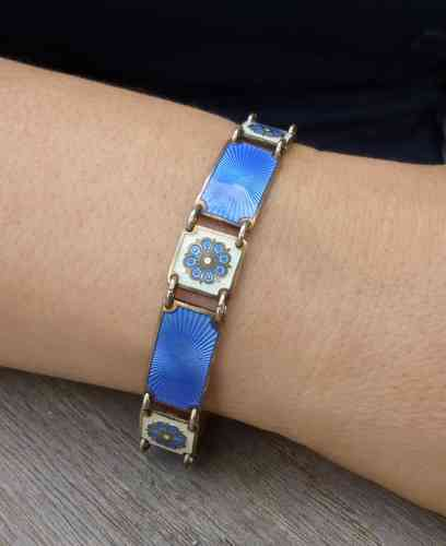David-Andersen blue and white enamel bracelet