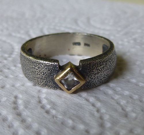 BoG  Sterling oxidised ring with a crystal, size S - T