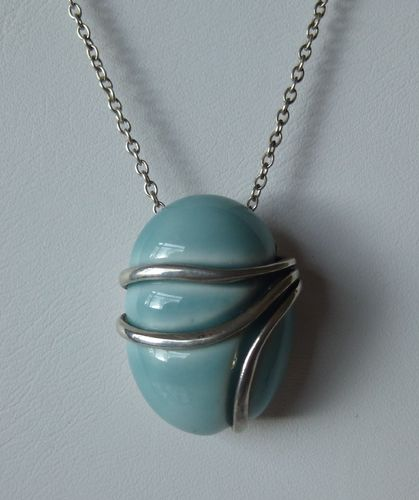 Royal Copenhagen turquoise porcelain and silver lozenge pendant + chain with box