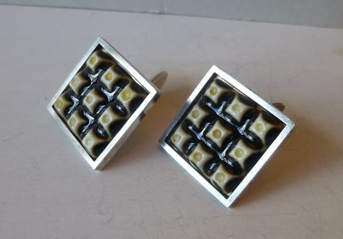 Royal Copenhagen / Anton Michelsen large porcelain + silver cufflinks