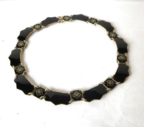 Volmer Bahner black enamel necklace