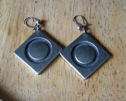 Kjeld Hansen geometric pewter earrings