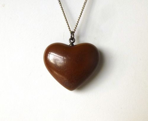 Royal Copenhagen Porcelain / Michelsen brown chubby heart pendant