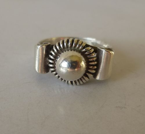 KD silver ball ring , size M