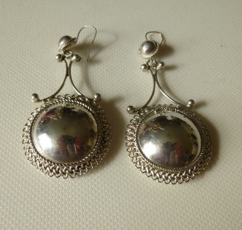 Huge silver ART drop earrings for pierced ears