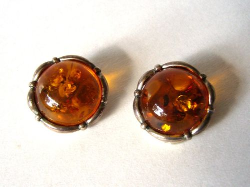 Denmark TSD Sterling amber ear clips
