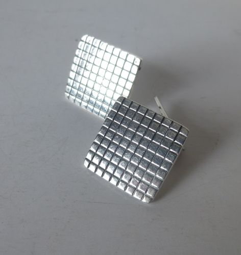 Bernhard Hertz large square grid cufflinks