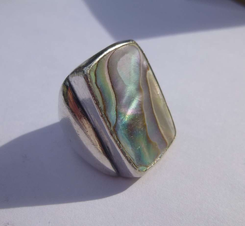 thin devocean koa co wood ring abalone shell jewelry products inlay rings
