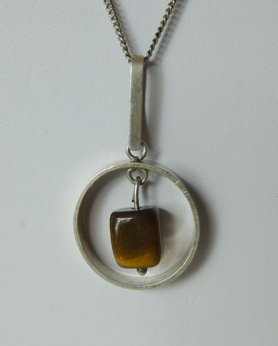 German Sterling Tiger Eye pendant + chain