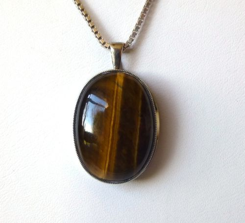 Finland classical silver Tiger Eye pendant  + chain