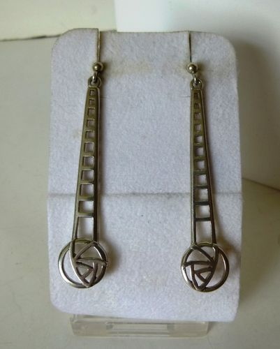 Carrick long Mackintosh style Sterling silver earrings for pierced ears