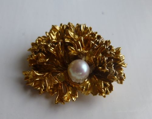 Flora Danica silver gilt parsley and pearl brooch