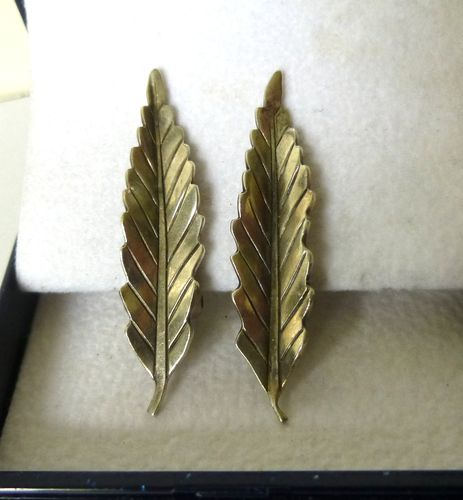 Anton Michelsen Engel Sterling silver feather ear clips