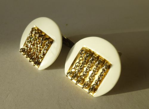 Royal Copenhagen Porcelain / A Michelsen/ porcelain and gold  cufflinks
