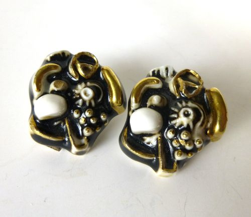 Royal Copenhagen Porcelain / A Michelsen ear clips