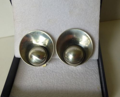 N.E.From Sterling silver large off-centre ear clips
