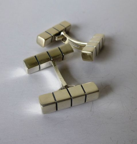 Aarre & Krogh Sterling grooved double bar cufflinks