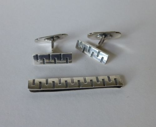 Eiler & Marløe modernist silver cufflinks and tieclip