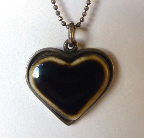 Anton Michelsen Royal Copenhagen silver-backed blue or white or brown heart pendant + chain