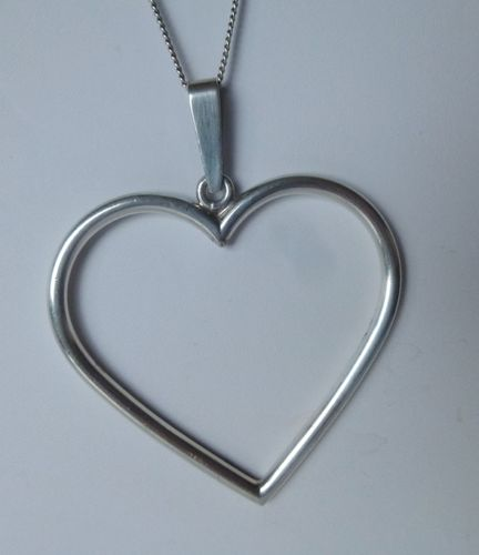 Siersbøl huge Sterling heart pendant + chain
