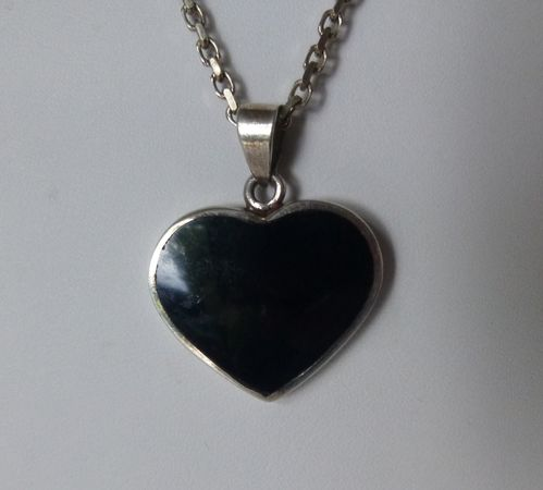 Sterling onyx  heart pendant + chain