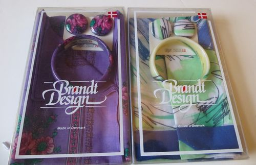 Brandt Design plastic bangle, earclips and cotton scarf
