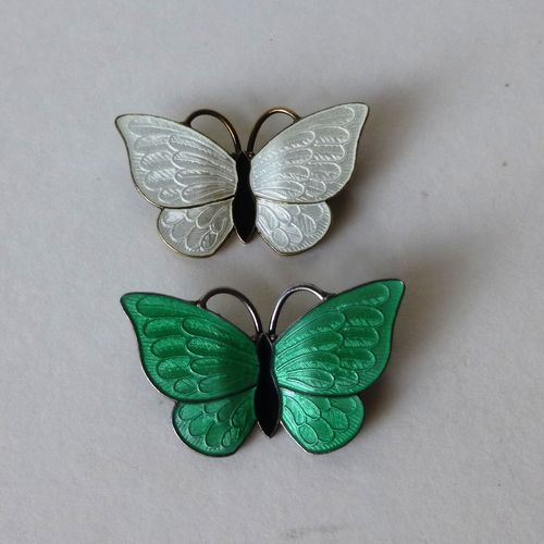 Volmer Bahner green or white enamel butterfly