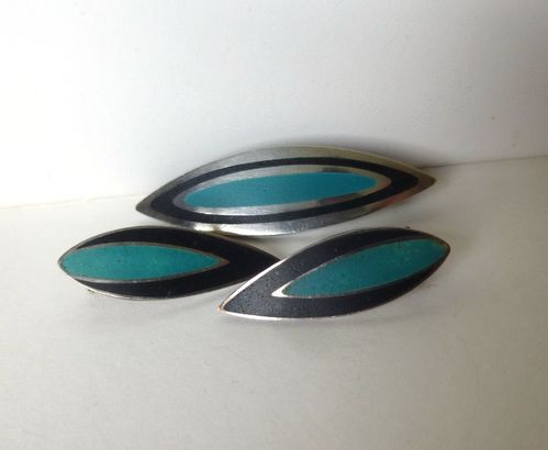 Poul Warmind Sterling blue and black enamel brooch and ear clips