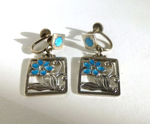 Munksgaard Sterling with blue enamel flowers earrings,screws