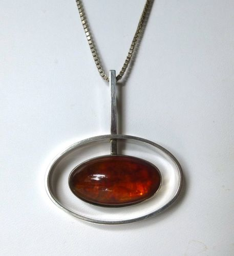 N.E.From Sterling amber pendant + chain