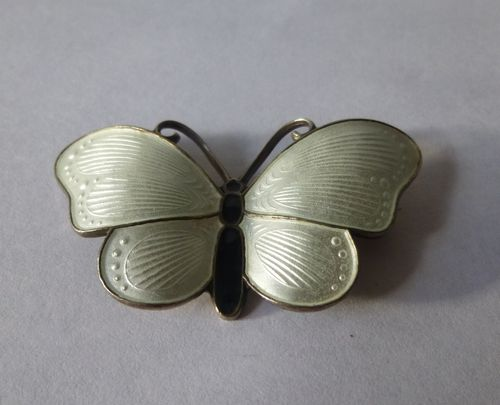 Ivar  Holt large Sterling white enamel butterfly brooch