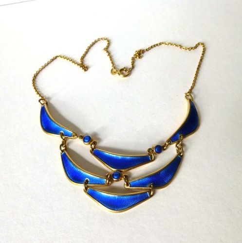 Albert Scharning gilt Sterling blue enamel necklace