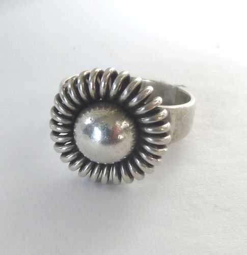 C A Christensen silver ball ring size L-M /6