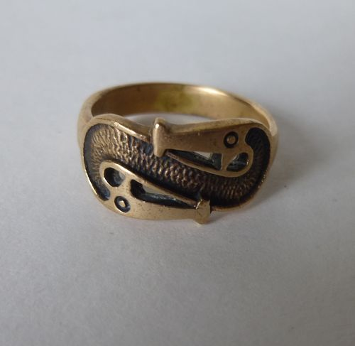 Bronze Viking replica snake ring, size S
