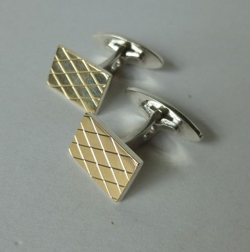 Axel Holm Sterling gilt diamond pattern cufflinks