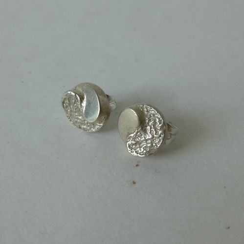 Danish dual textured stud earrings - posts