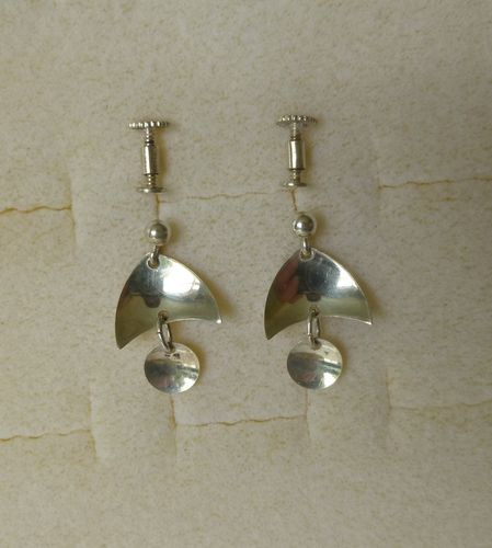 Norwegian Unihjem silver drop earrings - screws, convertible