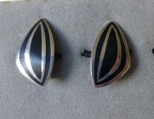 B M Jensen Sterling enamel ear clips